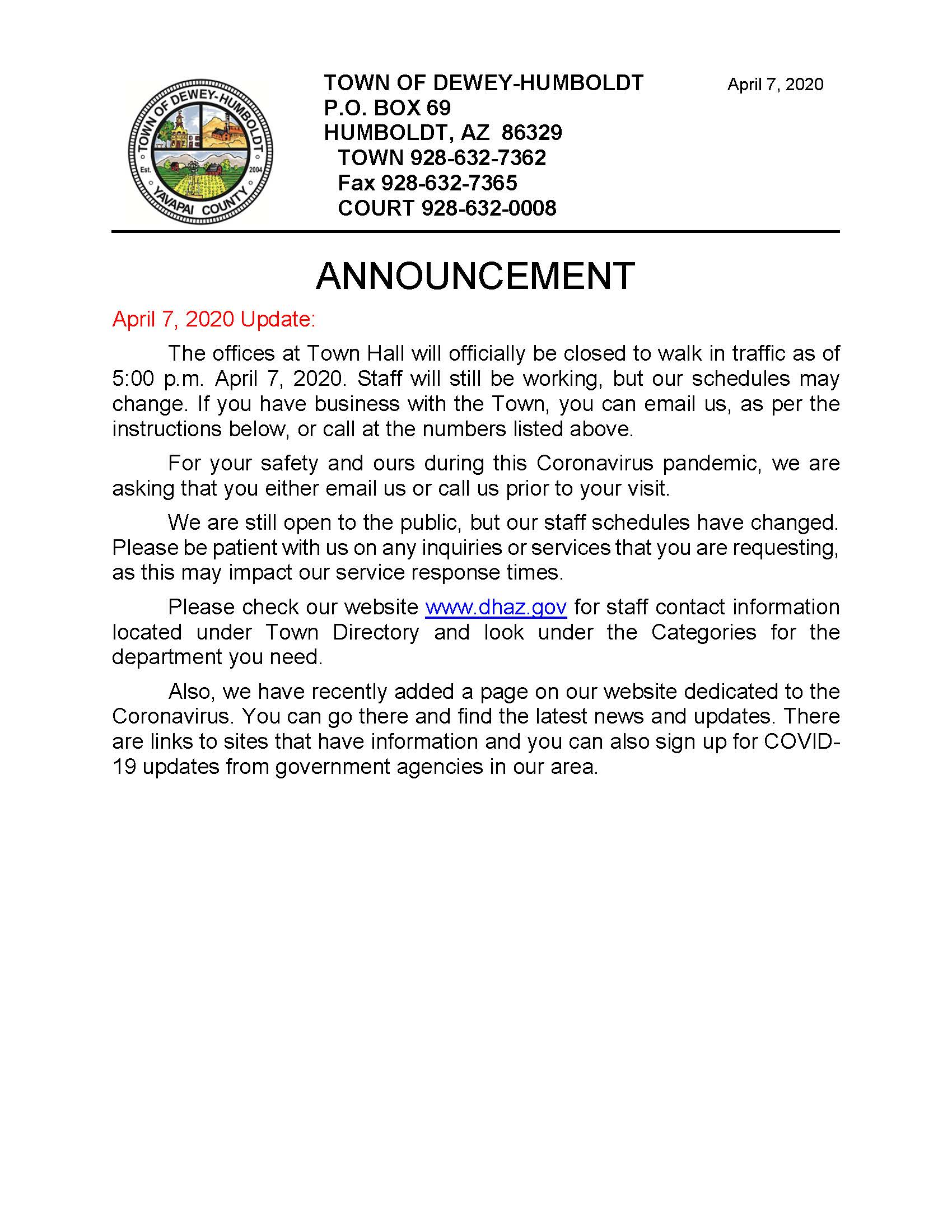 Coronavirus Announcement