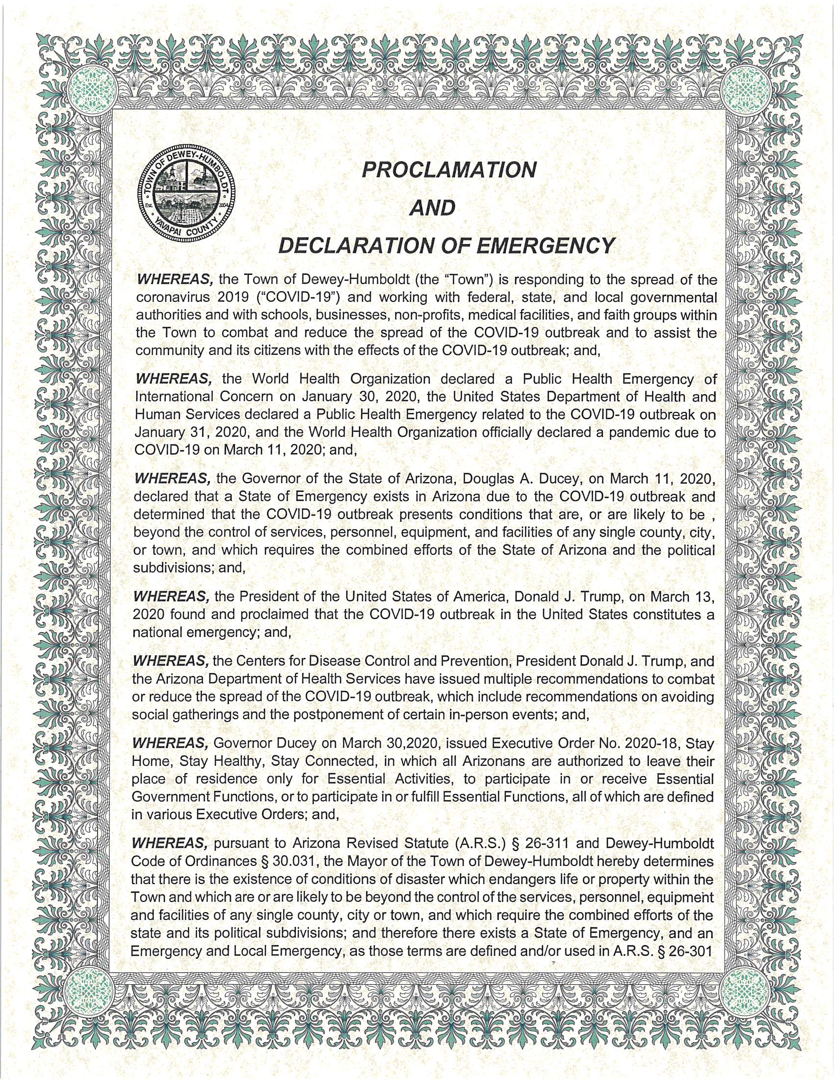 Proclamation and Declaration of Emergency - 040720