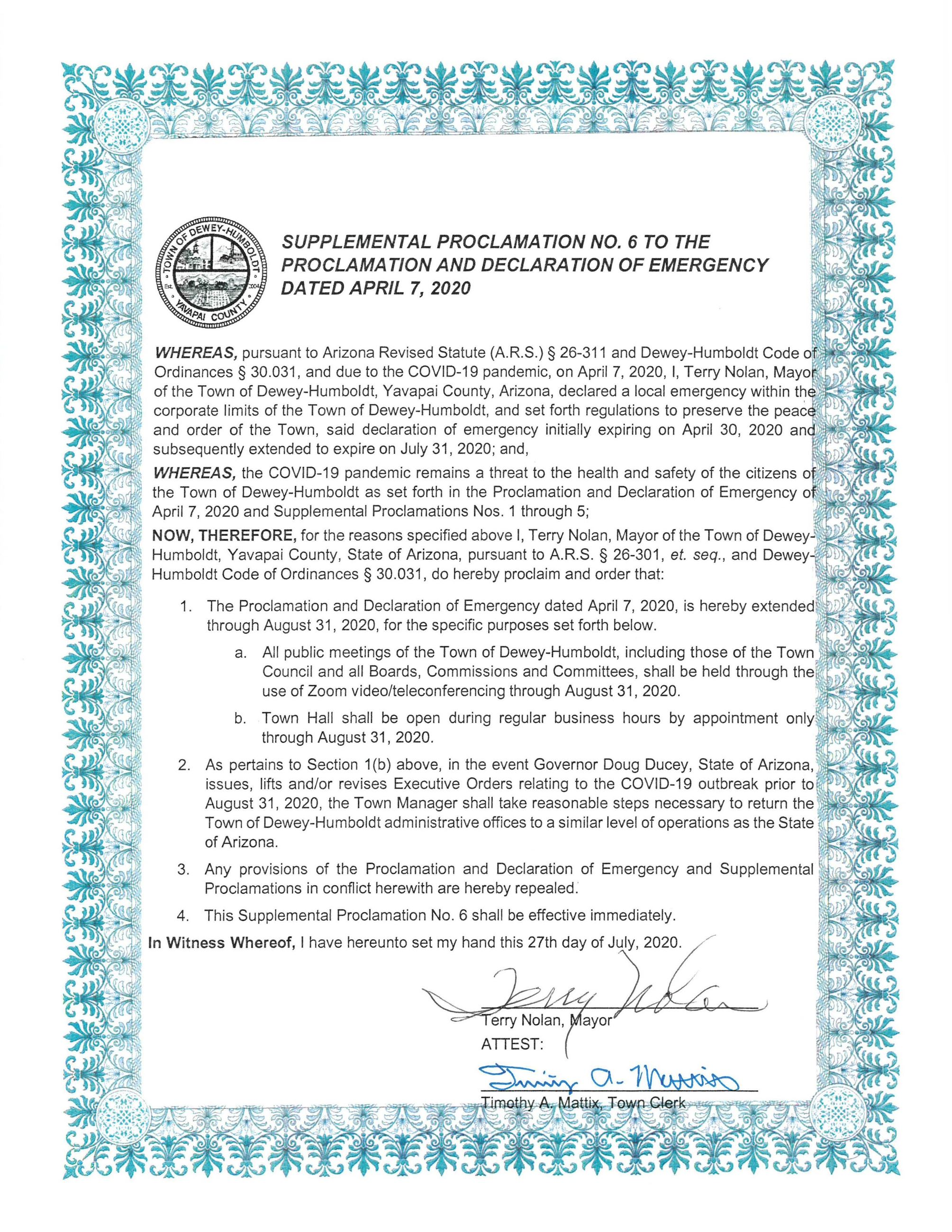 Supplemental Proclamation 6