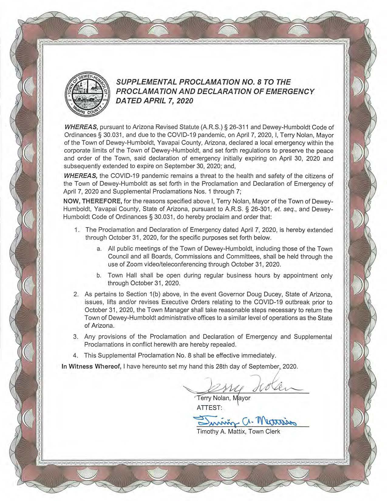Supplemental Proclamation 8