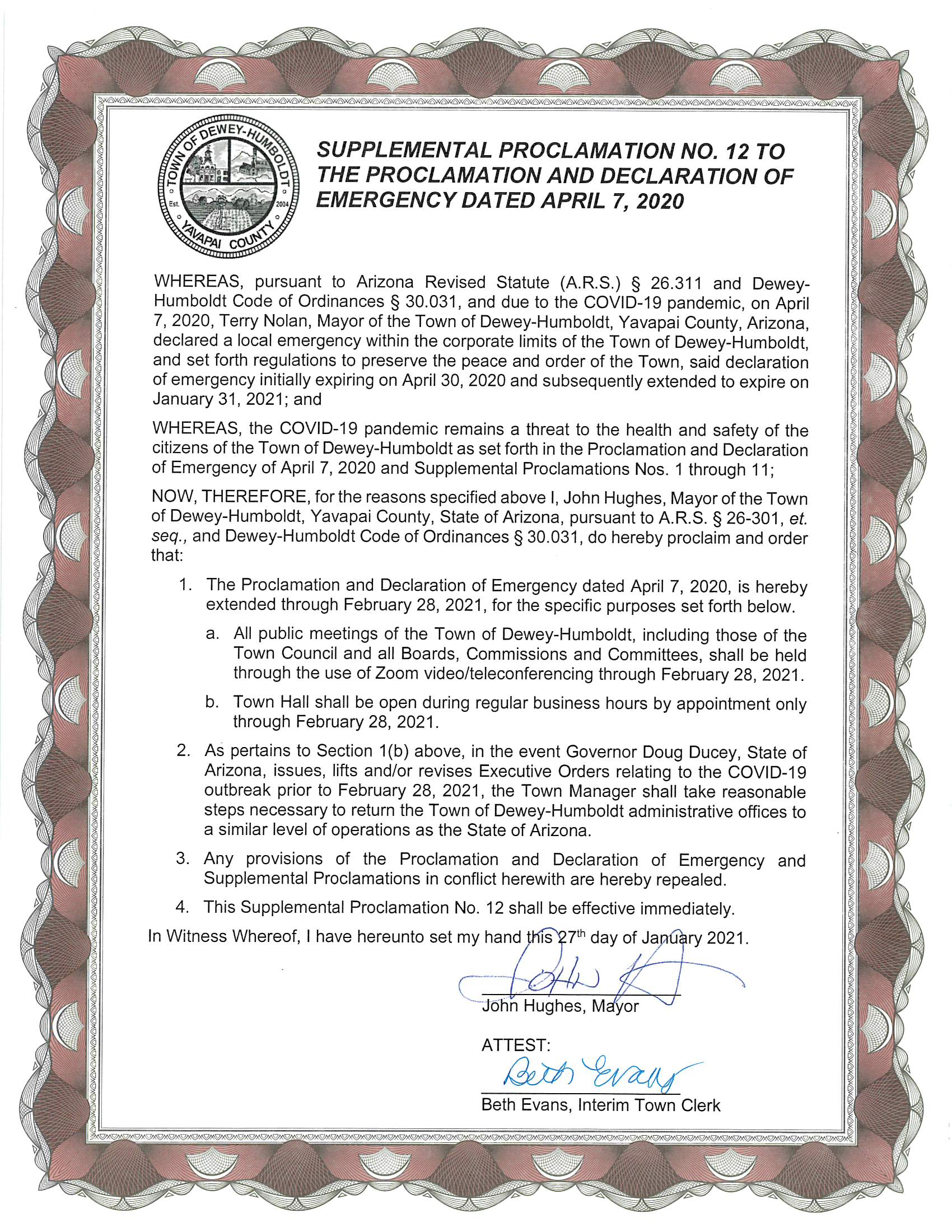Supplemental Proclamation 11